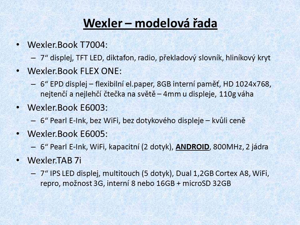 Výhody čteček PocketBook a Wexler PocketBook má českou i slovenskou lokalizaci Wexler má českou lokalizaci (na Slovenské se pracuje) Autorizovaná servisní centra v ČR i SR (konkurence má šedý dovoz a taktéž šedý servis – neautorizovaný, nebo se posílá mimo ČR, mimo SR) Rozšíření o 32GB (skvělé na obrázky, mp3, množství knih) Souborová (složková) struktura – Kindle, Nook, Kobo nemají!.