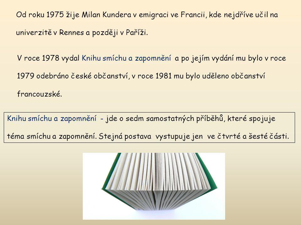 Od roku 1975 žije Milan Kundera v emigraci ve Francii, kde nejdříve učil na univerzitě v Rennes a později v Paříži. V roce 1978 vydal Knihu smíchu a z