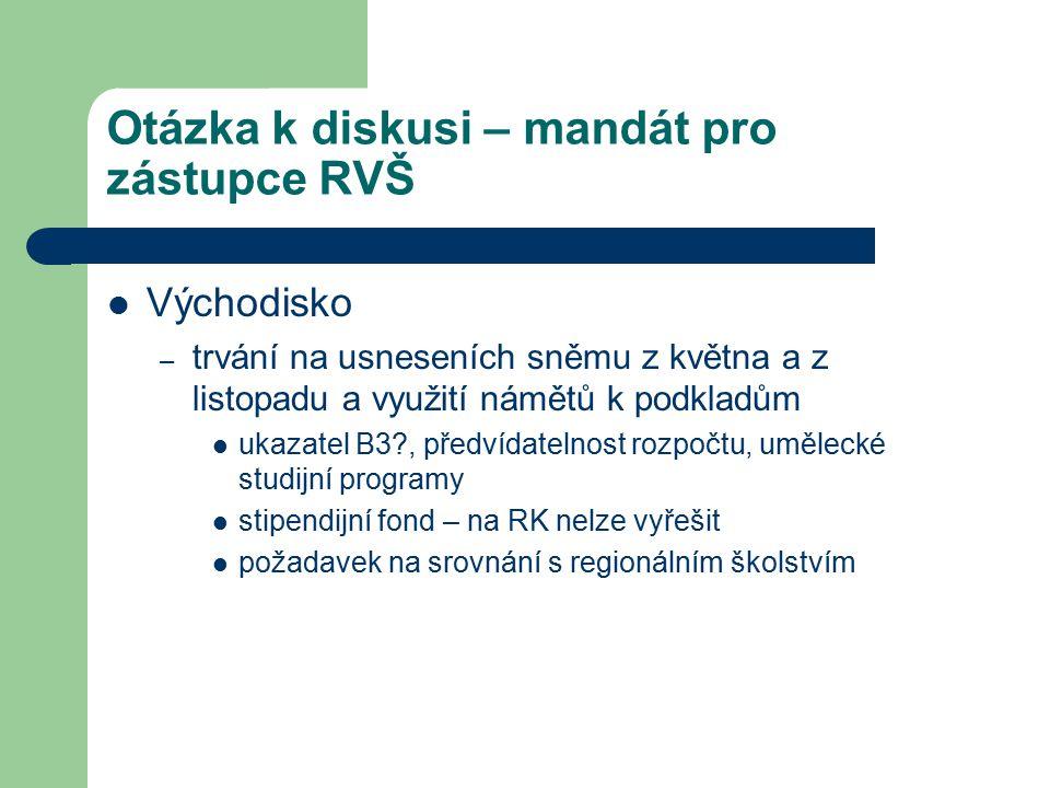 Otázka k diskusi – mandát pro zástupce RVŠ Východisko – trvání na usneseních sněmu z května a z listopadu a využití námětů k podkladům ukazatel B3?, předvídatelnost rozpočtu, umělecké studijní programy stipendijní fond – na RK nelze vyřešit požadavek na srovnání s regionálním školstvím
