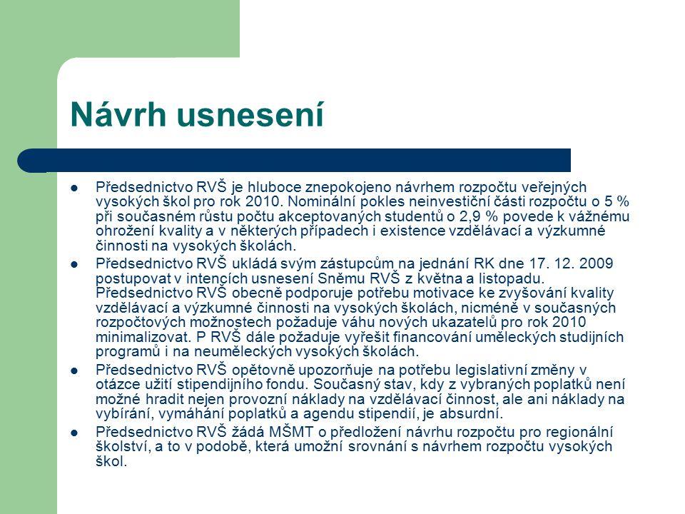 Návrh usnesení Předsednictvo RVŠ je hluboce znepokojeno návrhem rozpočtu veřejných vysokých škol pro rok 2010. Nominální pokles neinvestiční části roz