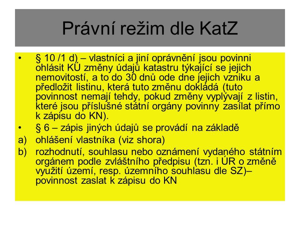 Právní režim dle KatZ § 10 /1 d) – vlastníci a jiní oprávnění jsou povinni ohlásit KÚ změny údajů katastru týkající se jejich nemovitostí, a to do 30