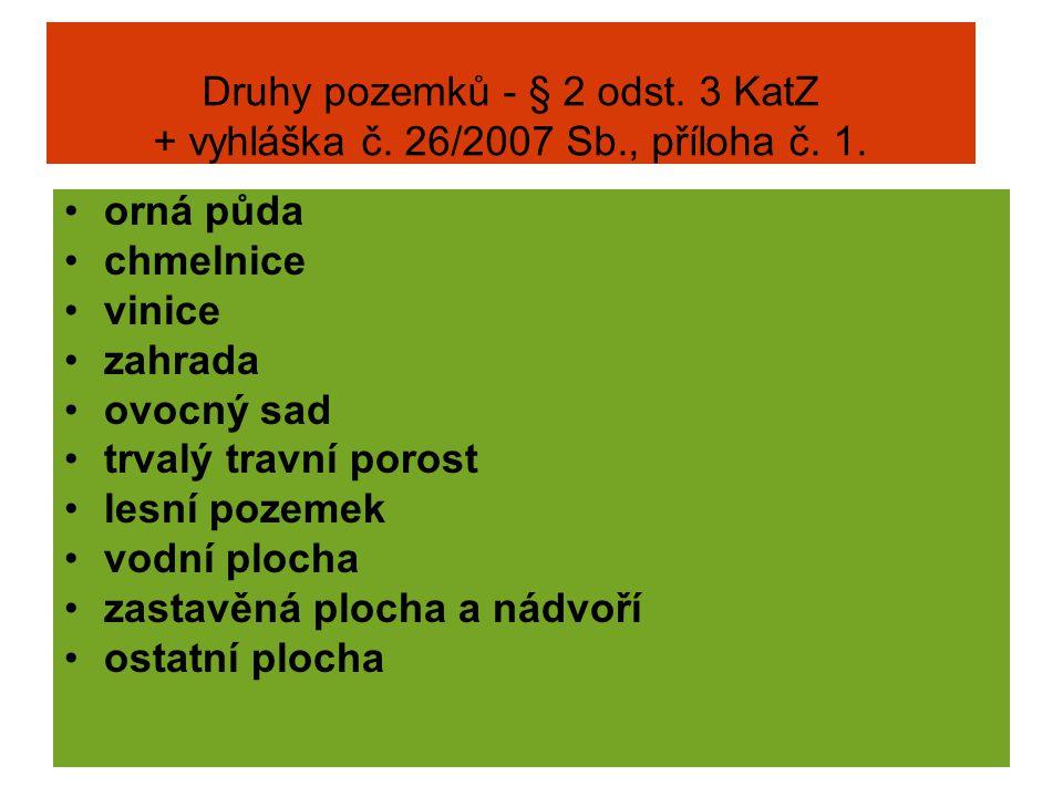 Druhy pozemků - § 2 odst. 3 KatZ + vyhláška č. 26/2007 Sb., příloha č. 1. orná půda chmelnice vinice zahrada ovocný sad trvalý travní porost lesní poz