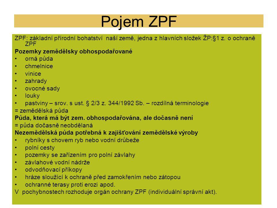 Pojem ZPF ZPF: základní přírodní bohatství naší země, jedna z hlavních složek ŽP:§1 z. o ochraně ZPF Pozemky zemědělsky obhospodařované orná půda chme