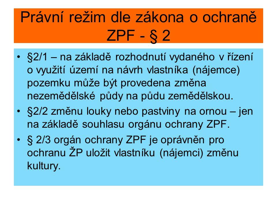 Právní režim dle zákona o ochraně ZPF - § 2 §2/1 – na základě rozhodnutí vydaného v řízení o využití území na návrh vlastníka (nájemce) pozemku může b
