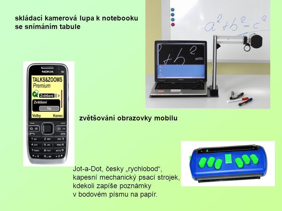 """skládací kamerová lupa k notebooku se snímáním tabule zvětšování obrazovky mobilu Jot-a-Dot, česky """"rychlobod"""", kapesní mechanický psací strojek, kdek"""