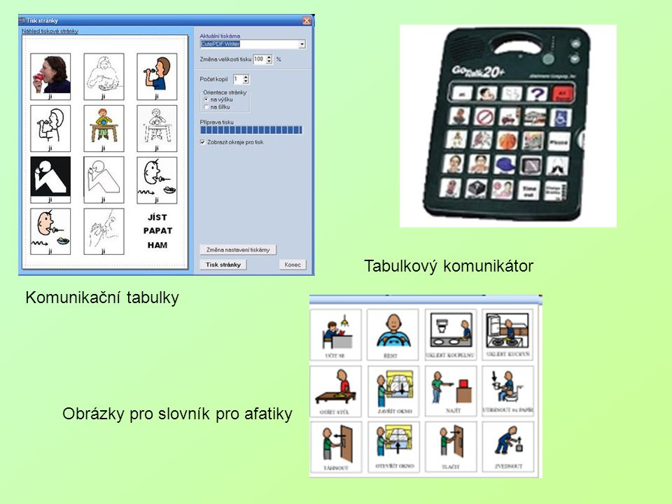 Komunikační tabulky Obrázky pro slovník pro afatiky Tabulkový komunikátor