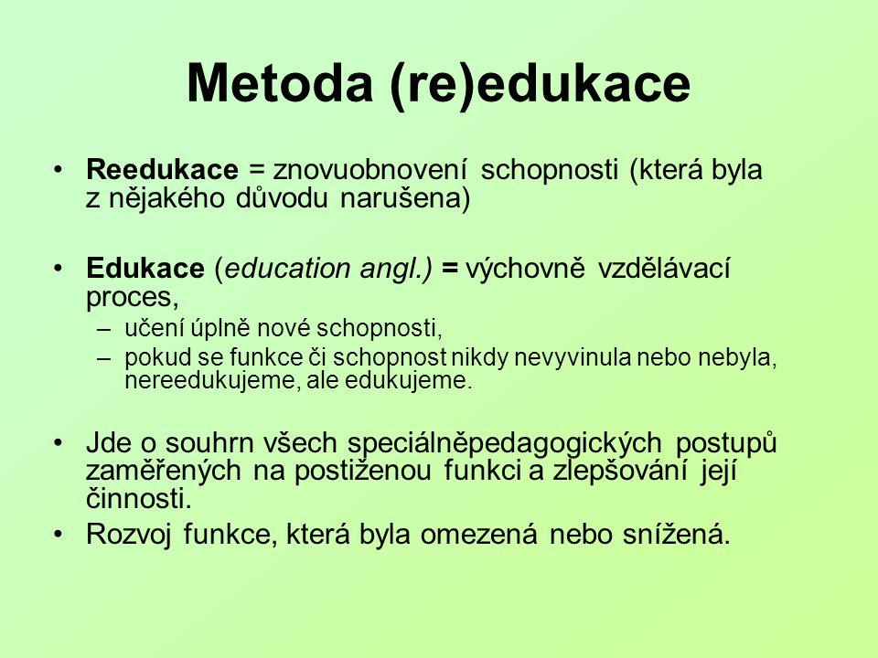 Metoda (re)edukace Reedukace = znovuobnovení schopnosti (která byla z nějakého důvodu narušena) Edukace (education angl.) = výchovně vzdělávací proces