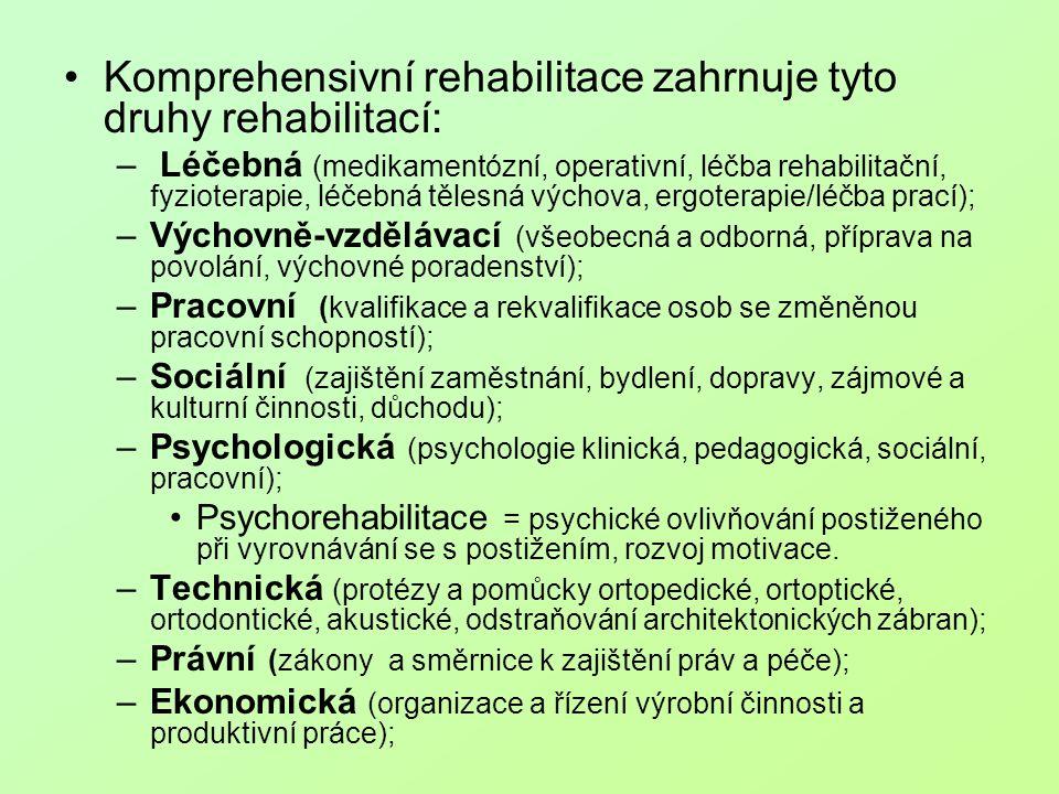 Komprehensivní rehabilitace zahrnuje tyto druhy rehabilitací: – Léčebná (medikamentózní, operativní, léčba rehabilitační, fyzioterapie, léčebná tělesn