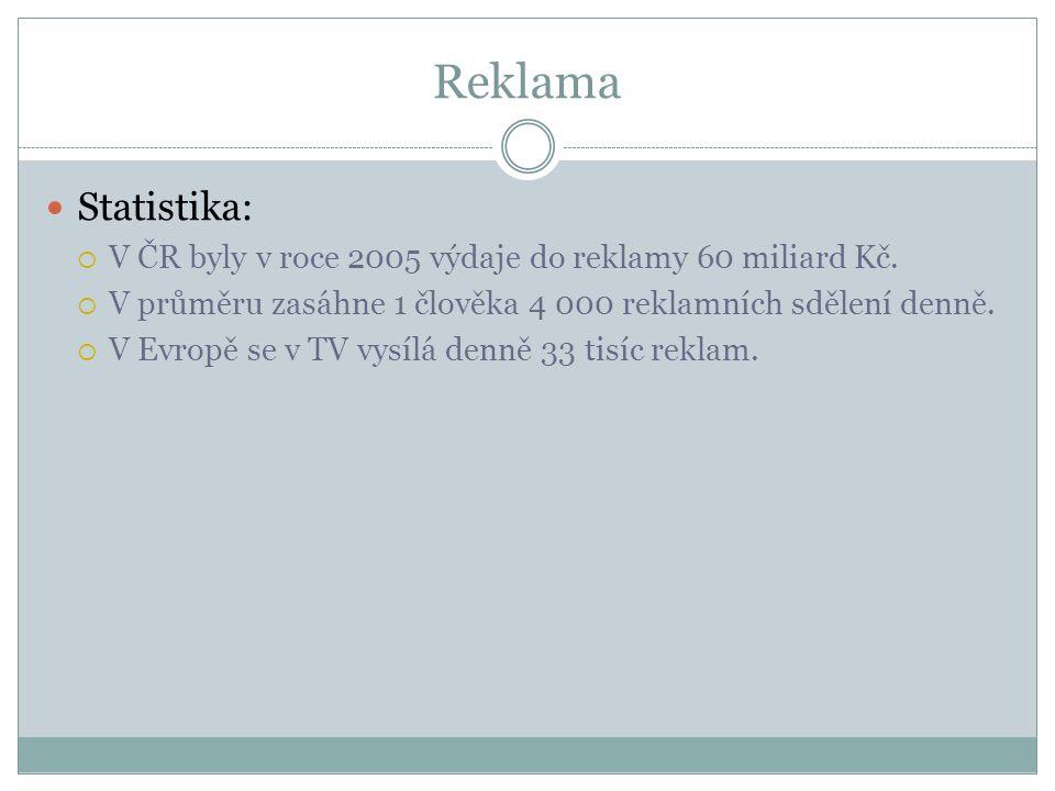 Reklama Statistika:  V ČR byly v roce 2005 výdaje do reklamy 60 miliard Kč.  V průměru zasáhne 1 člověka 4 000 reklamních sdělení denně.  V Evropě