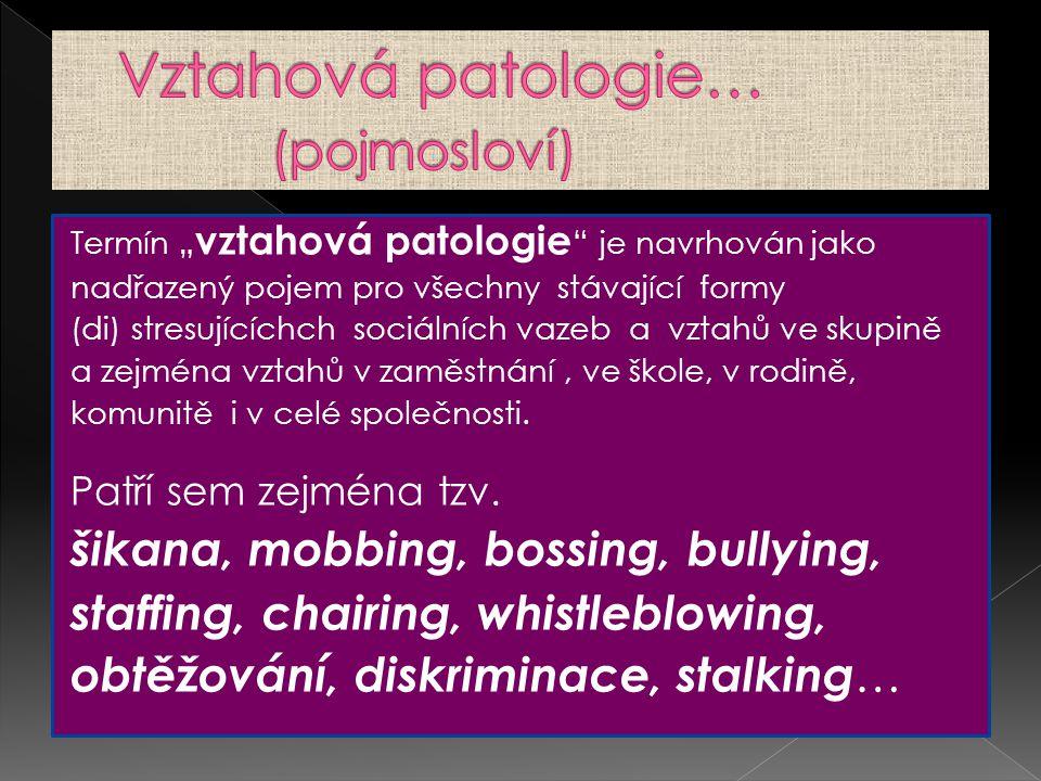 """Termín """" vztahová patologie """" je navrhován jako nadřazený pojem pro všechny stávající formy (di) stresujícíchch sociálních vazeb a vztahů ve skupině a"""
