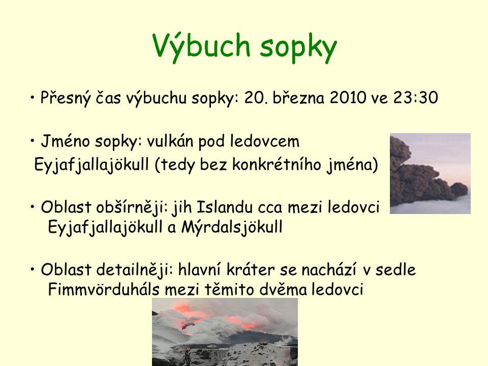 Výbuch sopky Přesný čas výbuchu sopky: 20. března 2010 ve 23:30 Jméno sopky: vulkán pod ledovcem Eyjafjallajökull (tedy bez konkrétního jména) Oblast
