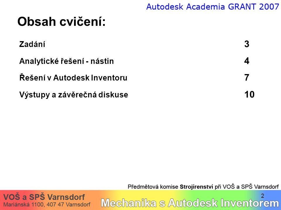 2 Obsah cvičení: Zadání 3 Analytické řešení - nástin 4 Řešení v Autodesk Inventoru 7 Výstupy a závěrečná diskuse 10