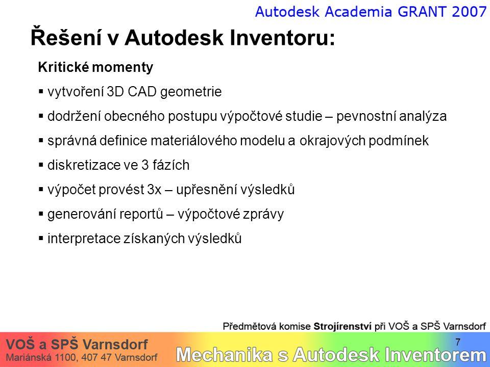 7 Řešení v Autodesk Inventoru: Kritické momenty  vytvoření 3D CAD geometrie  dodržení obecného postupu výpočtové studie – pevnostní analýza  správn