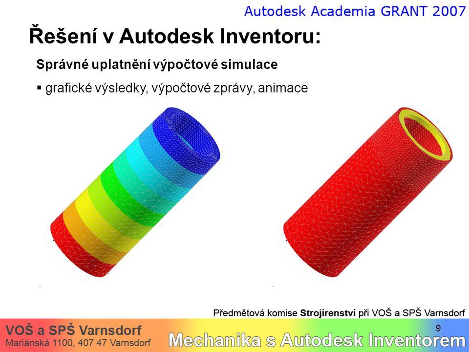 9 Řešení v Autodesk Inventoru: Správné uplatnění výpočtové simulace  grafické výsledky, výpočtové zprávy, animace
