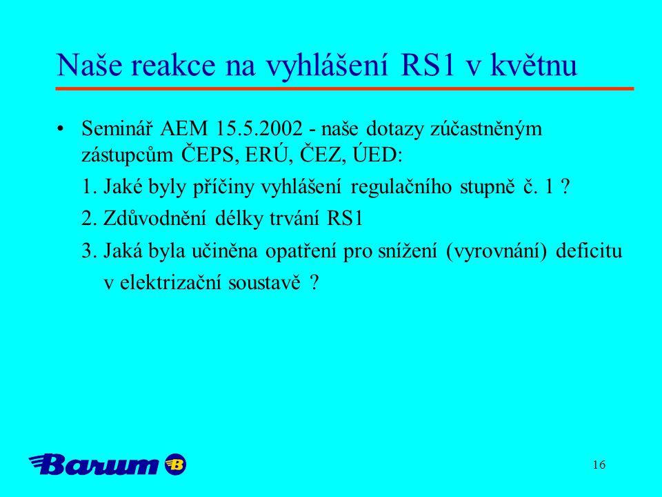 16 Naše reakce na vyhlášení RS1 v květnu Seminář AEM 15.5.2002 - naše dotazy zúčastněným zástupcům ČEPS, ERÚ, ČEZ, ÚED: 1. Jaké byly příčiny vyhlášení