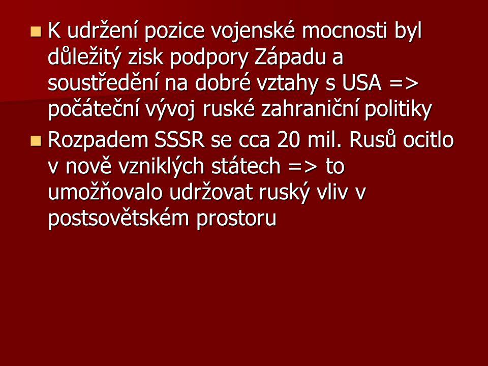 K udržení pozice vojenské mocnosti byl důležitý zisk podpory Západu a soustředění na dobré vztahy s USA => počáteční vývoj ruské zahraniční politiky K udržení pozice vojenské mocnosti byl důležitý zisk podpory Západu a soustředění na dobré vztahy s USA => počáteční vývoj ruské zahraniční politiky Rozpadem SSSR se cca 20 mil.