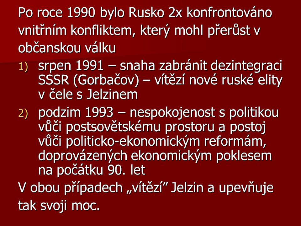 Po roce 1990 bylo Rusko 2x konfrontováno vnitřním konfliktem, který mohl přerůst v občanskou válku 1) srpen 1991 – snaha zabránit dezintegraci SSSR (Gorbačov) – vítězí nové ruské elity v čele s Jelzinem 2) podzim 1993 – nespokojenost s politikou vůči postsovětskému prostoru a postoj vůči politicko-ekonomickým reformám, doprovázených ekonomickým poklesem na počátku 90.