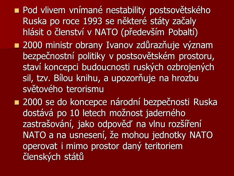 Pod vlivem vnímané nestability postsovětského Ruska po roce 1993 se některé státy začaly hlásit o členství v NATO (především Pobaltí) Pod vlivem vnímané nestability postsovětského Ruska po roce 1993 se některé státy začaly hlásit o členství v NATO (především Pobaltí) 2000 ministr obrany Ivanov zdůrazňuje význam bezpečnostní politiky v postsovětském prostoru, staví koncepci budoucnosti ruských ozbrojených sil, tzv.