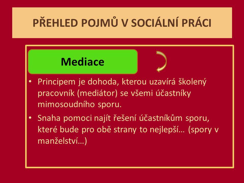 PŘEHLED POJMŮ V SOCIÁLNÍ PRÁCI Principem je dohoda, kterou uzavírá školený pracovník (mediátor) se všemi účastníky mimosoudního sporu.