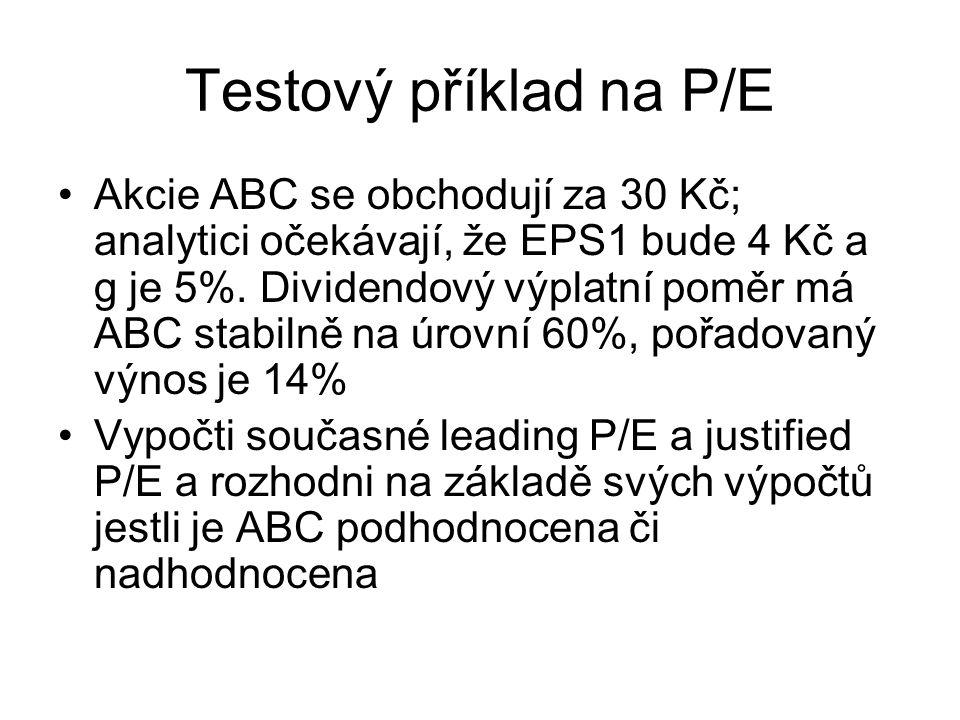 Testový příklad na P/E Akcie ABC se obchodují za 30 Kč; analytici očekávají, že EPS1 bude 4 Kč a g je 5%. Dividendový výplatní poměr má ABC stabilně n