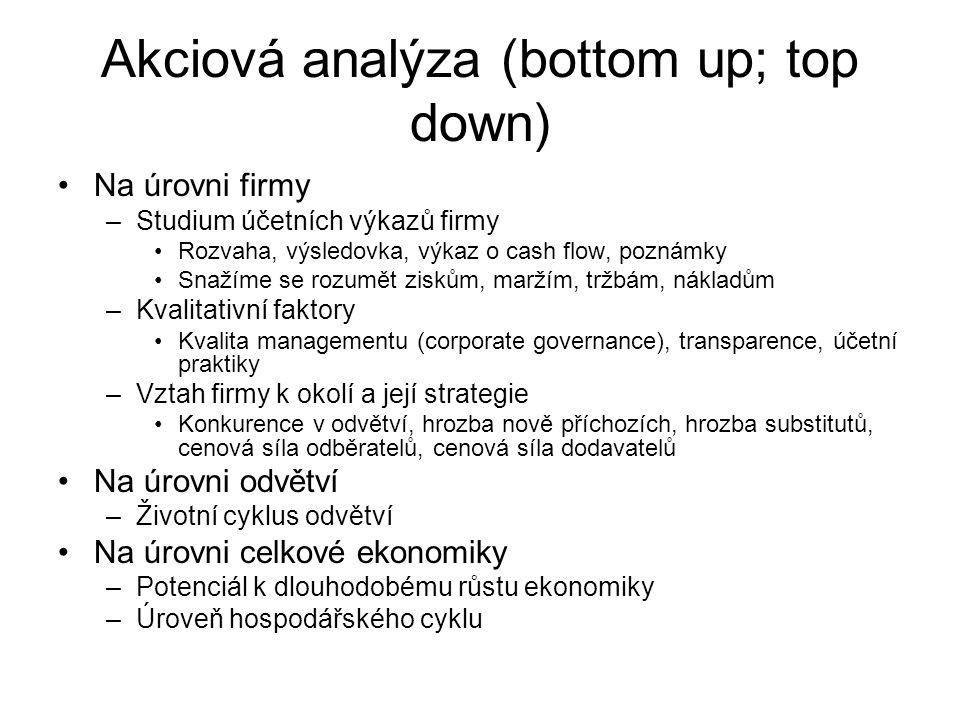 Akciová analýza (bottom up; top down) Na úrovni firmy –Studium účetních výkazů firmy Rozvaha, výsledovka, výkaz o cash flow, poznámky Snažíme se rozum