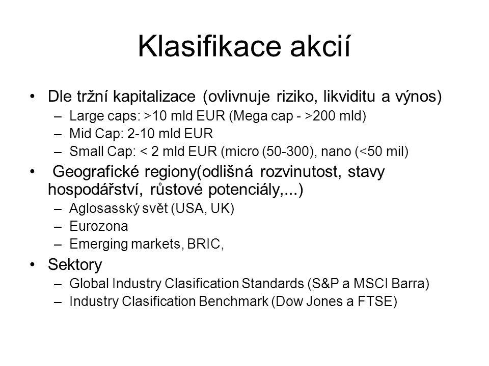 Klasifikace akcií Dle tržní kapitalizace (ovlivnuje riziko, likviditu a výnos) –Large caps: >10 mld EUR (Mega cap - >200 mld) –Mid Cap: 2-10 mld EUR –