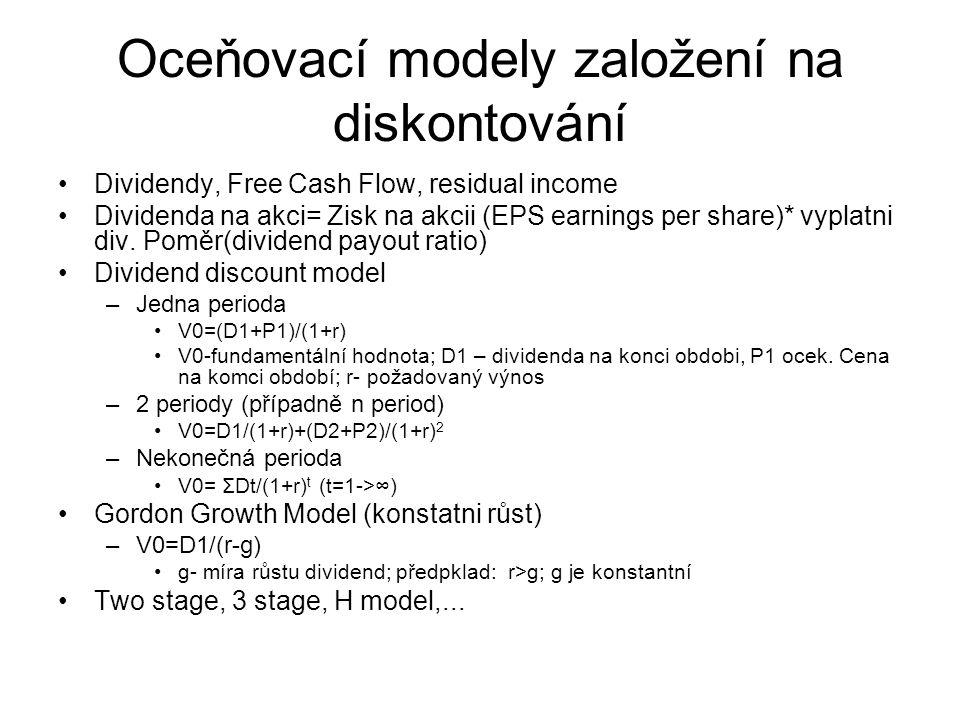 Oceňovací modely založení na diskontování Dividendy, Free Cash Flow, residual income Dividenda na akci= Zisk na akcii (EPS earnings per share)* vyplat