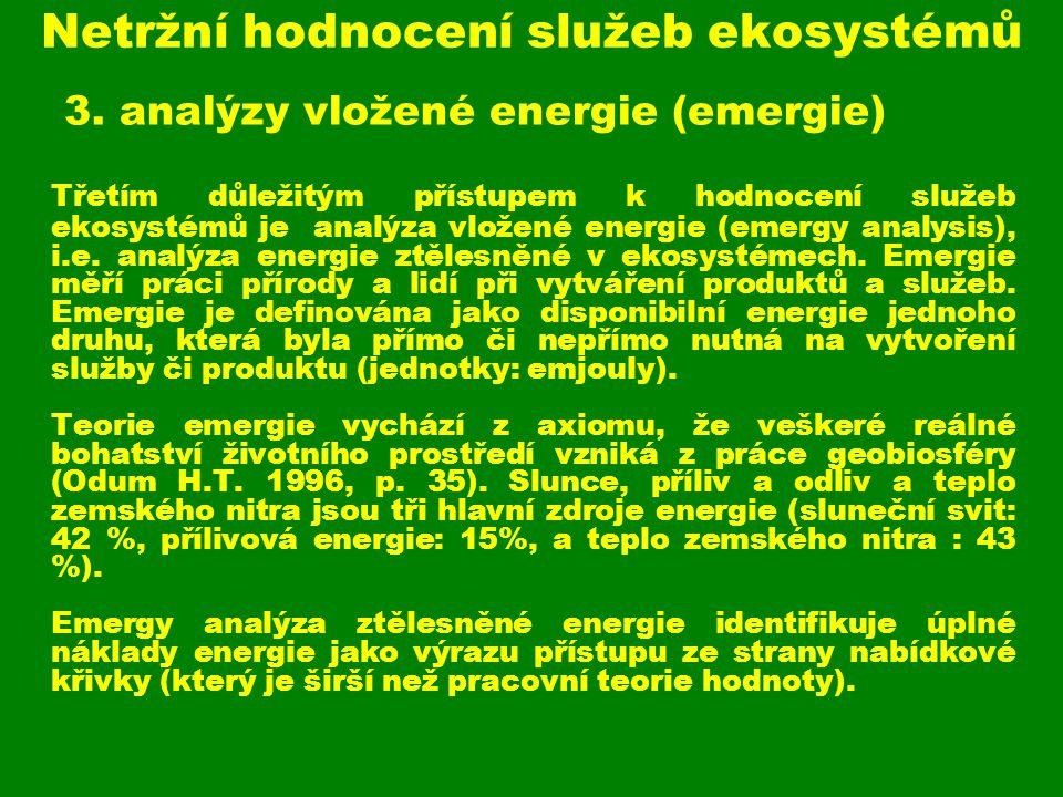 Netržní hodnocení služeb ekosystémů 3. analýzy vložené energie (emergie) Třetím důležitým přístupem k hodnocení služeb ekosystémů je analýza vložené e