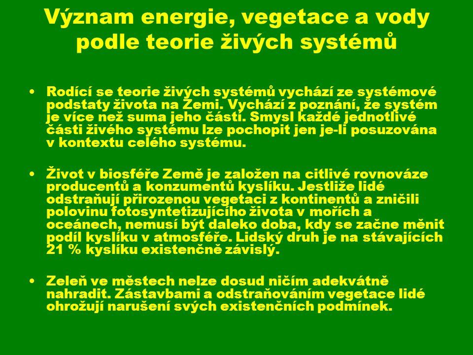 Význam energie, vegetace a vody podle teorie živých systémů Rodící se teorie živých systémů vychází ze systémové podstaty života na Zemi. Vychází z po