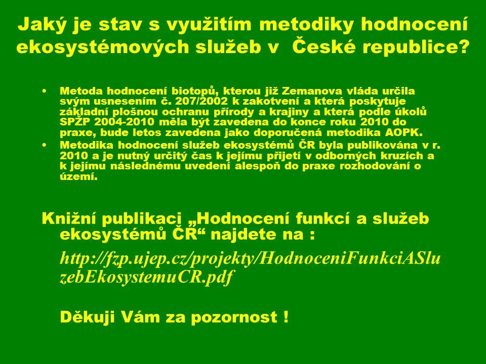 Jaký je stav s využitím metodiky hodnocení ekosystémových služeb v České republice? Metoda hodnocení biotopů, kterou již Zemanova vláda určila svým us