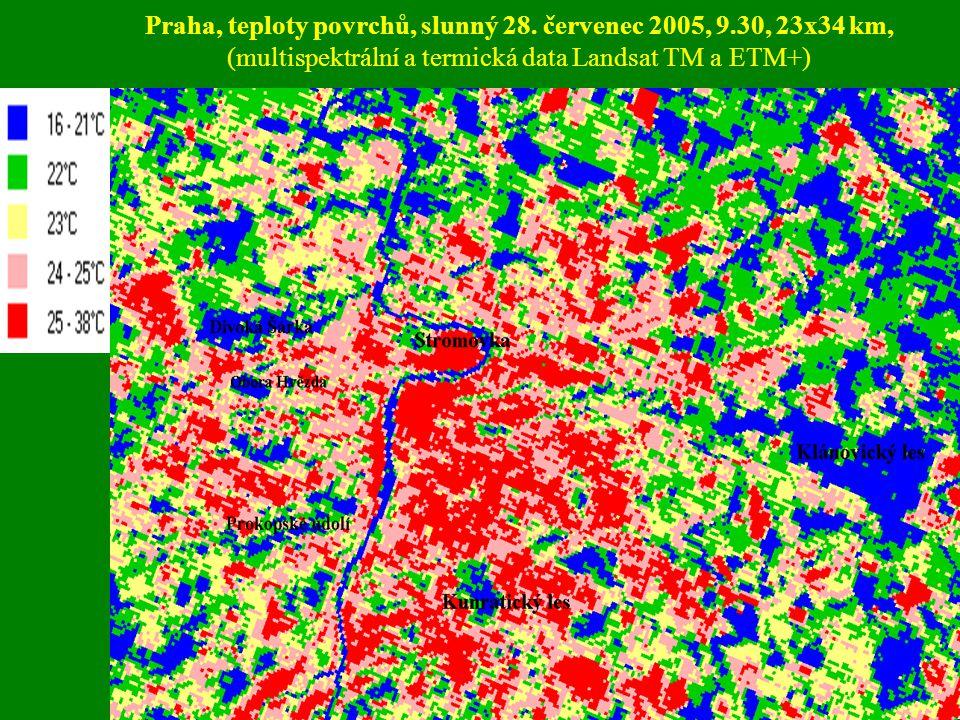 Praha, teploty povrchů, slunný 28. červenec 2005, 9.30, 23x34 km, (multispektrální a termická data Landsat TM a ETM+)