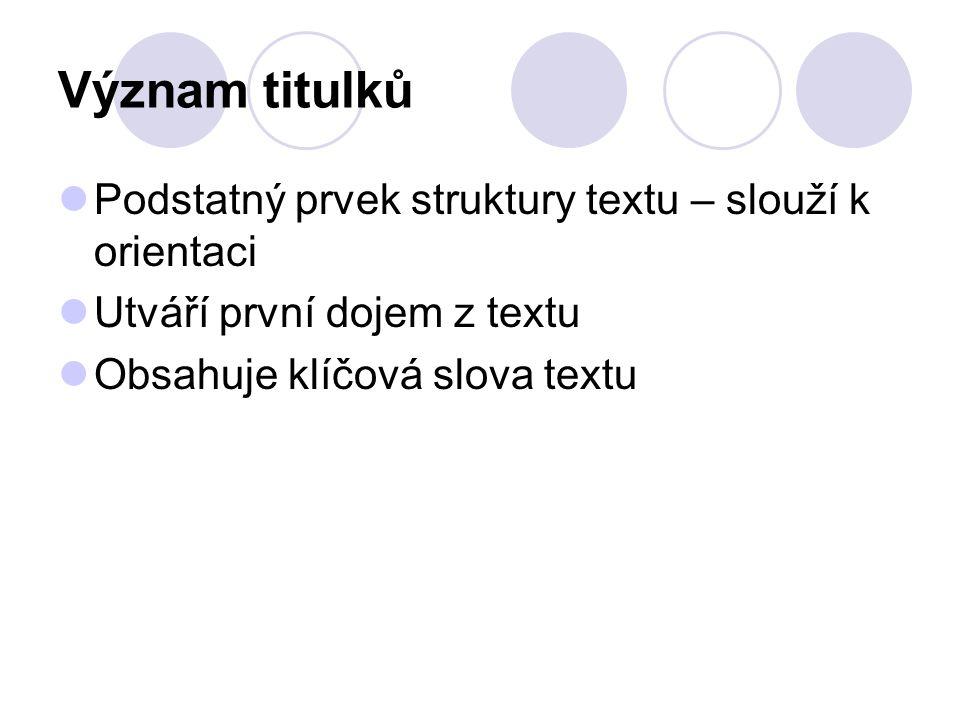Význam titulků Podstatný prvek struktury textu – slouží k orientaci Utváří první dojem z textu Obsahuje klíčová slova textu