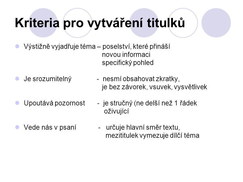 Kriteria pro vytváření titulků Výstižně vyjadřuje téma – poselství, které přináší novou informaci specifický pohled Je srozumitelný - nesmí obsahovat zkratky, je bez závorek, vsuvek, vysvětlivek Upoutává pozornost - je stručný (ne delší než 1 řádek oživující Vede nás v psaní - určuje hlavní směr textu, mezititulek vymezuje dílčí téma