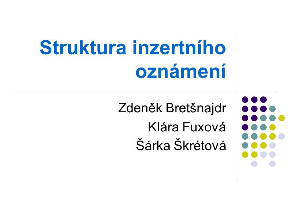 Struktura inzertního oznámení Zdeněk Bretšnajdr Klára Fuxová Šárka Škrétová