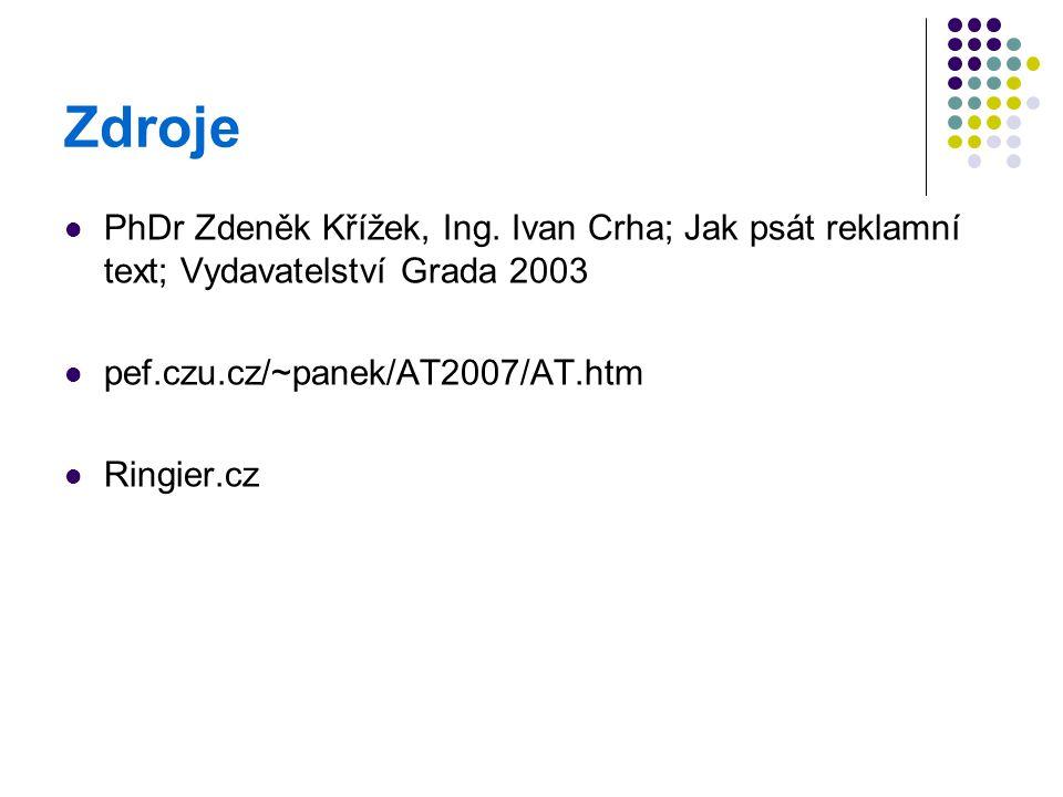 Zdroje PhDr Zdeněk Křížek, Ing. Ivan Crha; Jak psát reklamní text; Vydavatelství Grada 2003 pef.czu.cz/~panek/AT2007/AT.htm Ringier.cz
