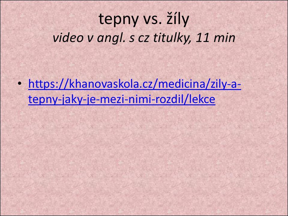 tepny vs. žíly video v angl. s cz titulky, 11 min https://khanovaskola.cz/medicina/zily-a- tepny-jaky-je-mezi-nimi-rozdil/lekce https://khanovaskola.c