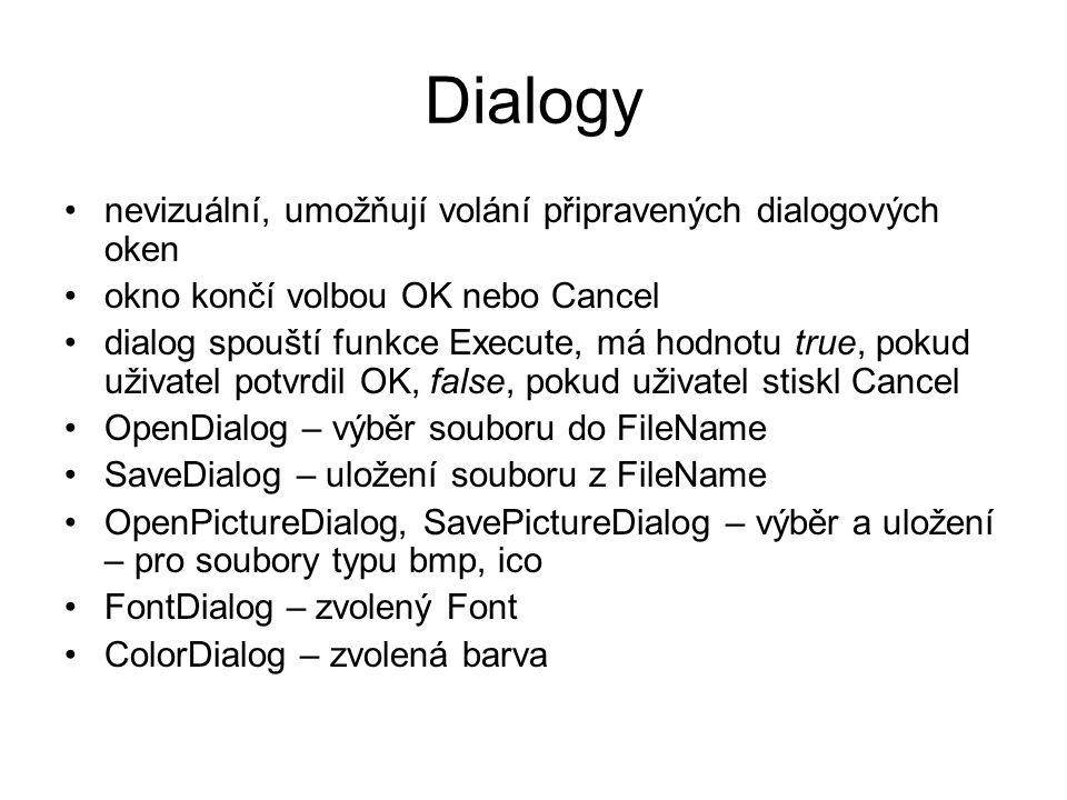 Dialogy nevizuální, umožňují volání připravených dialogových oken okno končí volbou OK nebo Cancel dialog spouští funkce Execute, má hodnotu true, pok
