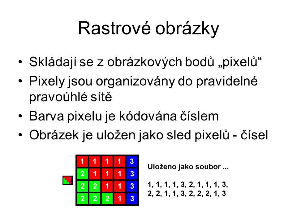 """Rastrové obrázky Skládají se z obrázkových bodů """"pixelů Pixely jsou organizovány do pravidelné pravoúhlé sítě Barva pixelu je kódována číslem Obrázek je uložen jako sled pixelů - čísel"""
