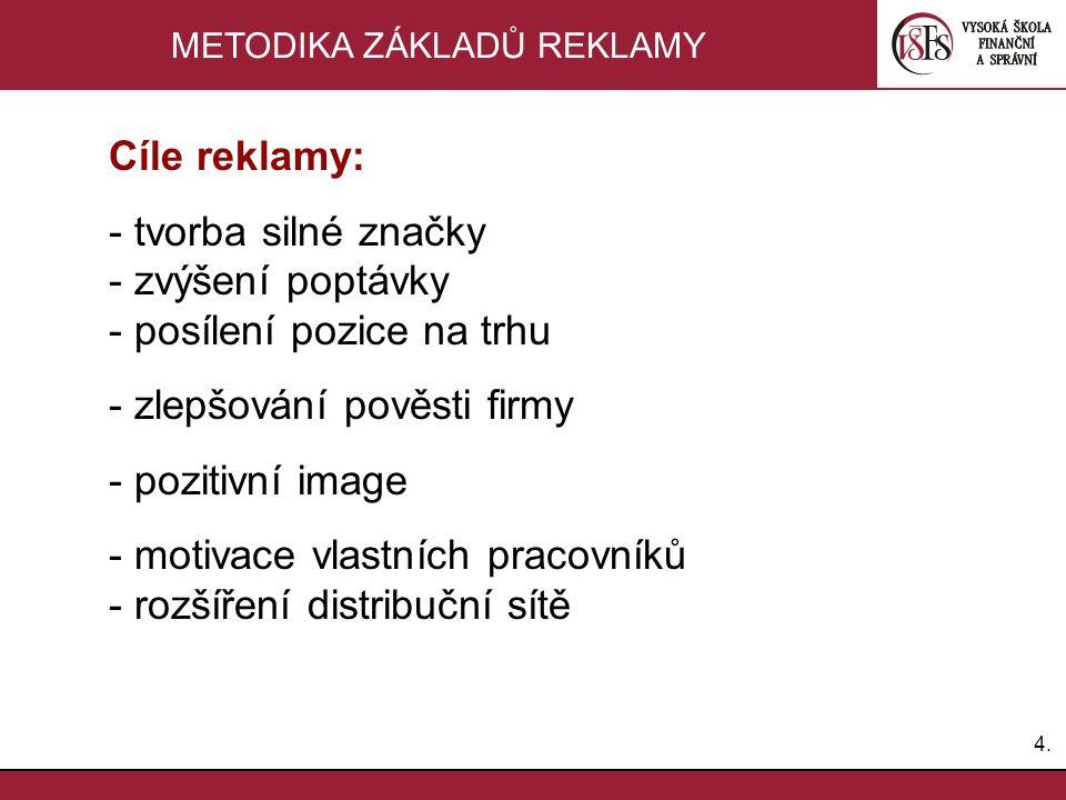 4.4. METODIKA ZÁKLADŮ REKLAMY Cíle reklamy: - tvorba silné značky - zvýšení poptávky - posílení pozice na trhu - zlepšování pověsti firmy - pozitivní