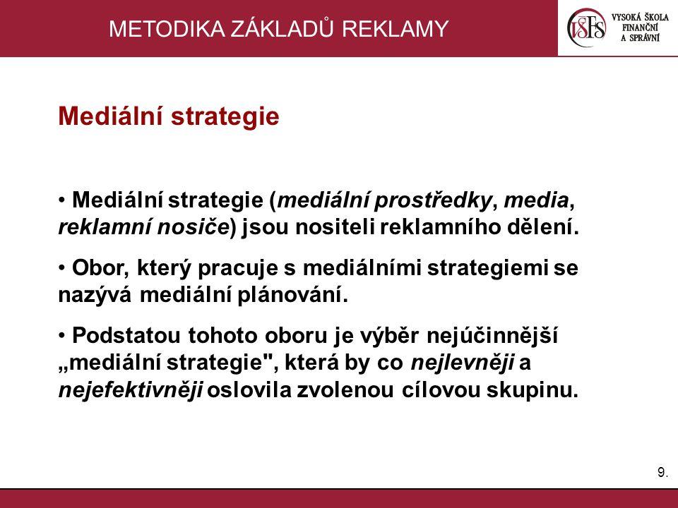 9.9. METODIKA ZÁKLADŮ REKLAMY Mediální strategie Mediální strategie (mediální prostředky, media, reklamní nosiče) jsou nositeli reklamního dělení. Obo