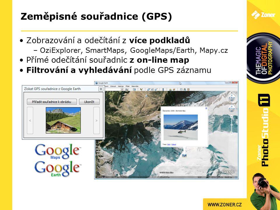 Zeměpisné souřadnice (GPS) Zobrazování a odečítání z více podkladů – OziExplorer, SmartMaps, GoogleMaps/Earth, Mapy.cz Přímé odečítání souřadnic z on-line map Filtrování a vyhledávání podle GPS záznamu