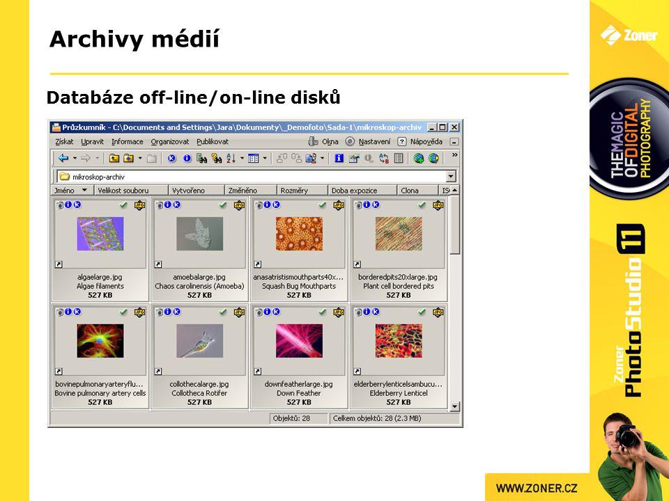 Archivy médií Databáze off-line/on-line disků