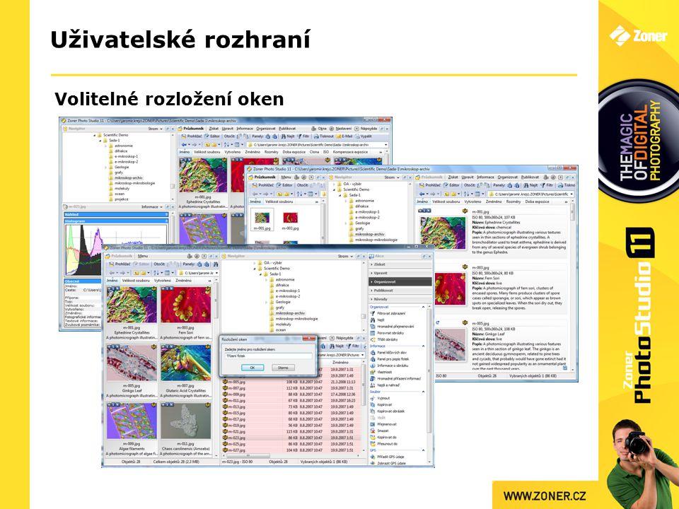 Uživatelské rozhraní Volitelné rozložení oken