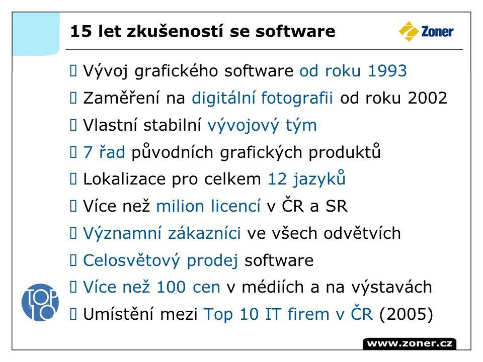 15 let zkušeností se software Vývoj grafického software od roku 1993 Zaměření na digitální fotografii od roku 2002 Vlastní stabilní vývojový tým 7 řad původních grafických produktů Lokalizace pro celkem 12 jazyků Více než milion licencí v ČR a SR Významní zákazníci ve všech odvětvích Celosvětový prodej software Více než 100 cen v médiích a na výstavách Umístění mezi Top 10 IT firem v ČR (2005)