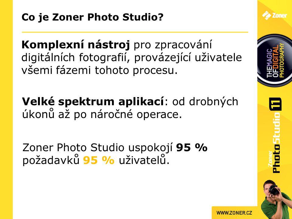 Co je Zoner Photo Studio? Komplexní nástroj pro zpracování digitálních fotografií, provázející uživatele všemi fázemi tohoto procesu. Zoner Photo Stud