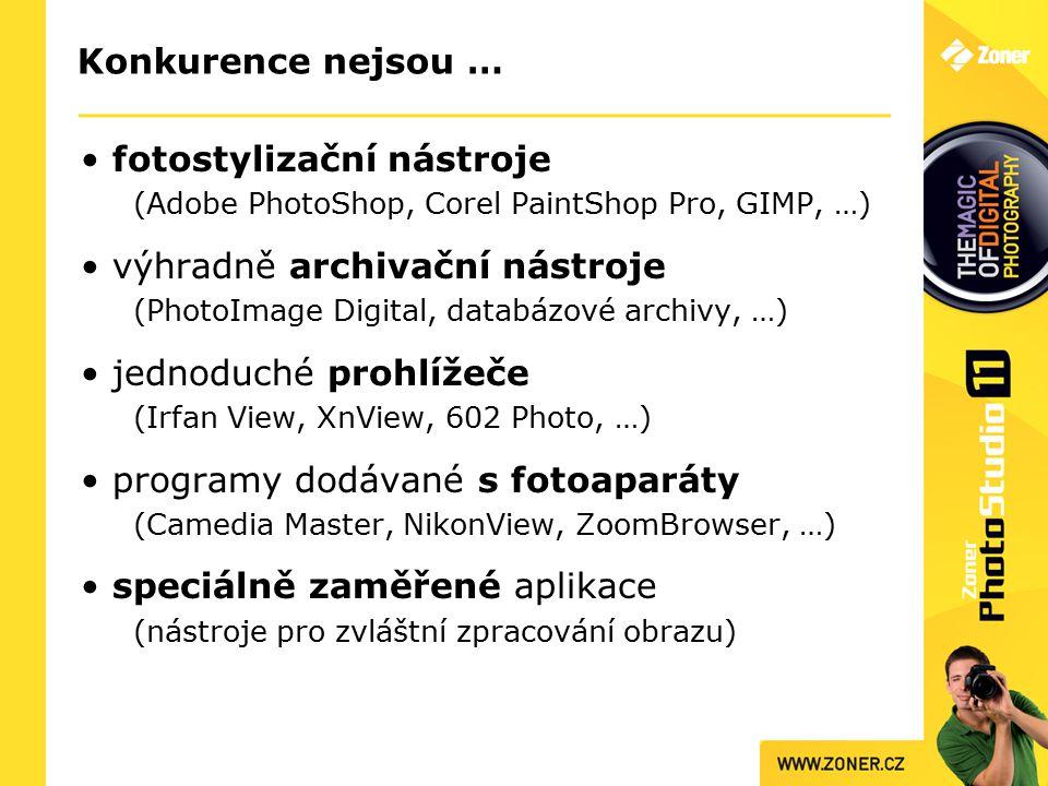 Konkurence nejsou … fotostylizační nástroje (Adobe PhotoShop, Corel PaintShop Pro, GIMP, …) výhradně archivační nástroje (PhotoImage Digital, databázové archivy, …) jednoduché prohlížeče (Irfan View, XnView, 602 Photo, …) programy dodávané s fotoaparáty (Camedia Master, NikonView, ZoomBrowser, …) speciálně zaměřené aplikace (nástroje pro zvláštní zpracování obrazu)