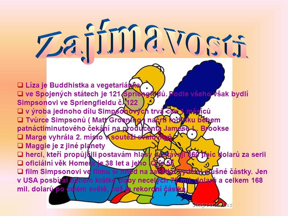  Líza je Buddhistka a vegetariánka  ve Spojených státech je 121 Spriengfildů. Podle všeho však bydlí Simpsonovi ve Spriengfieldu č. 122  v ýroba je