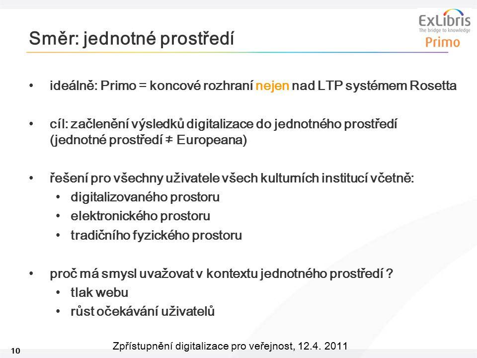 10 Zpřístupnění digitalizace pro veřejnost, 12.4. 2011 Směr: jednotné prostředí ideálně: Primo = koncové rozhraní nejen nad LTP systémem Rosetta cíl: