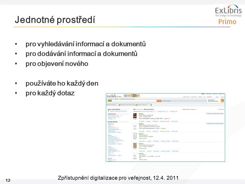 12 Zpřístupnění digitalizace pro veřejnost, 12.4. 2011 Jednotné prostředí pro vyhledávání informací a dokumentů pro dodávání informací a dokumentů pro
