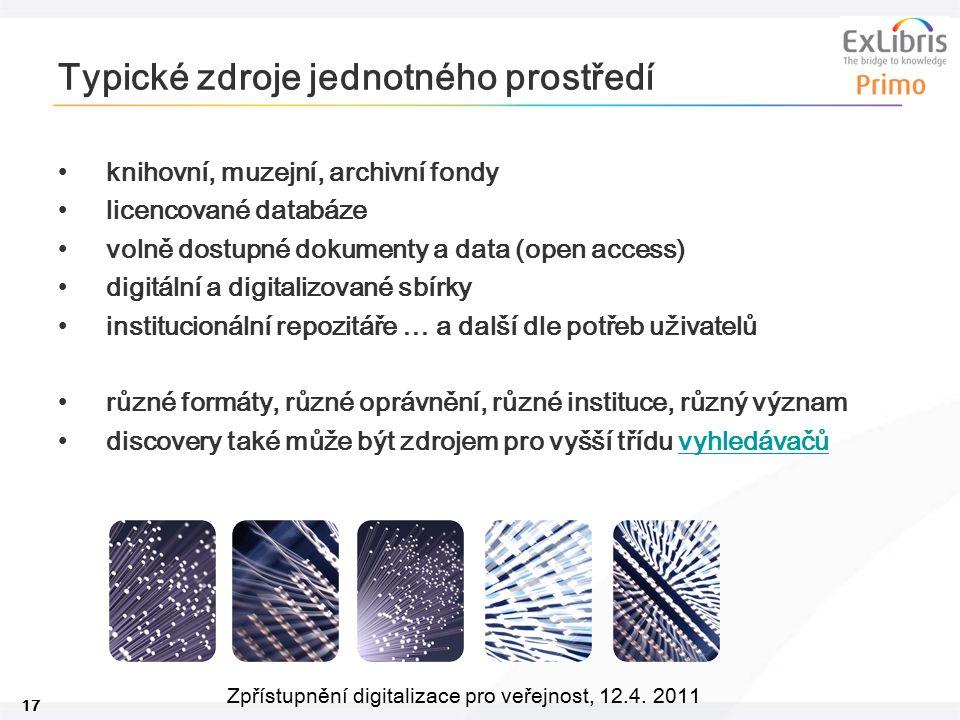 17 Zpřístupnění digitalizace pro veřejnost, 12.4. 2011 Typické zdroje jednotného prostředí knihovní, muzejní, archivní fondy licencované databáze voln